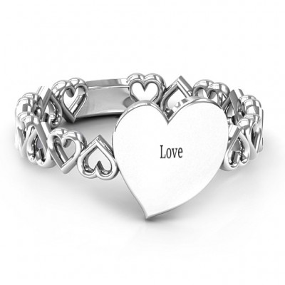Sterling Silver Engravable Cut Out Hearts Ring - Name My Jewellery