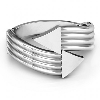 Sterling Silver Geometric Arrows and Triangles Bypass Ring - Name My Jewellery