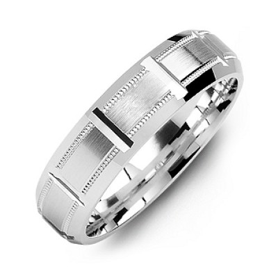 Sterling Silver Horizontal-Cut Men's Ring with Beveled Edge - Name My Jewellery