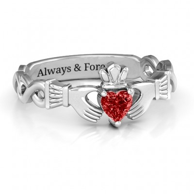 Sterling Silver Infinity Claddagh with Heart Stone Ring and Amethyst (Simulated) Stone  - Name My Jewellery