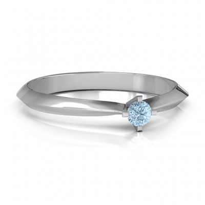 Sterling Silver Knife Edge Solitaire Ring - Name My Jewellery