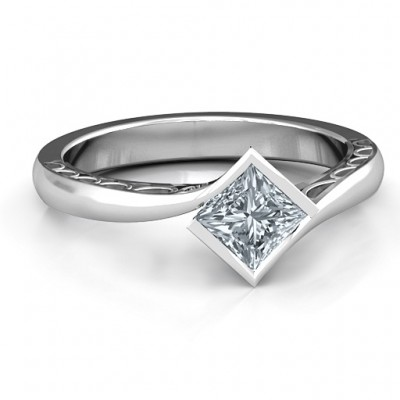 Sterling Silver Krista Princess Cut Ring - Name My Jewellery