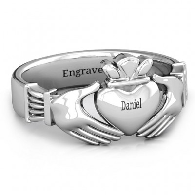 Sterling Silver Men's Classic Celtic Claddagh Ring - Name My Jewellery