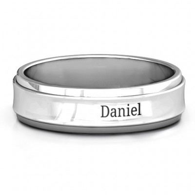 Sterling Silver Menelaus Bevelled Concave Men's Ring - Name My Jewellery