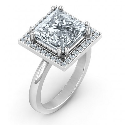 Sterling Silver Princess Cut Cocktail Ring with Halo - Name My Jewellery