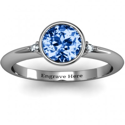 Sterling Silver Round Bezel Solitaire with Twin Accents Ring - Name My Jewellery
