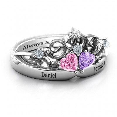 Sterling Silver Royal Romance Double Heart Tiara Ring with Engravings - Name My Jewellery