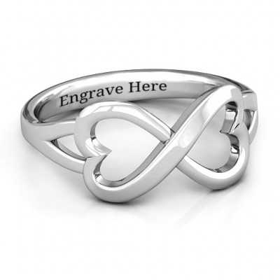 Sterling Silver Simple Double Heart Infinity Ring - Name My Jewellery