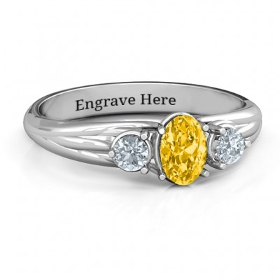 Three Stone Oval Centre Ring  - Name My Jewellery