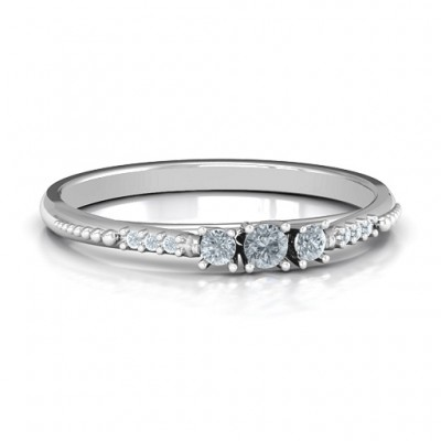 Trinity Ring on Accented Band - Name My Jewellery