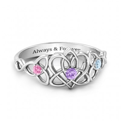 Triple Trinity Celtic Heart Ring - Name My Jewellery
