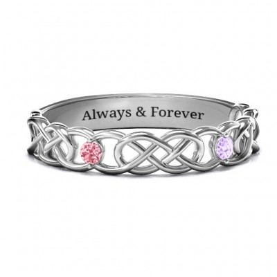 Two-Stone Interwoven Infinity Ring  - Name My Jewellery