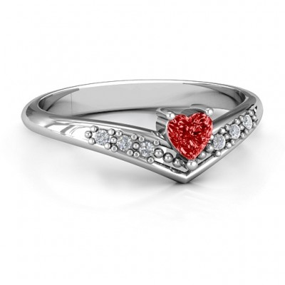 V-Accented Heart Ring - Name My Jewellery