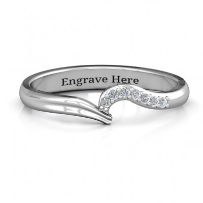 Wave Band Ring with Stone Accents  - Name My Jewellery