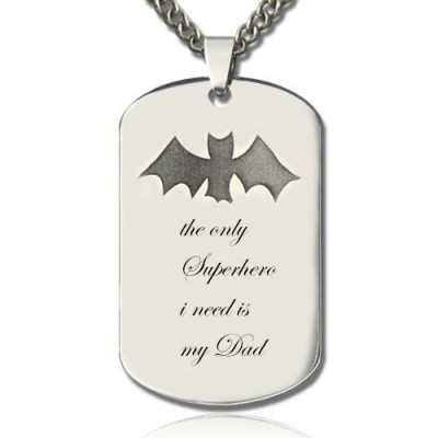 Man's Dog Tag Bat Name Necklace - Name My Jewellery