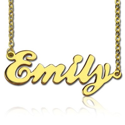 Cursive Nameplate Necklace 18ct Gold Plated - Name My Jewellery