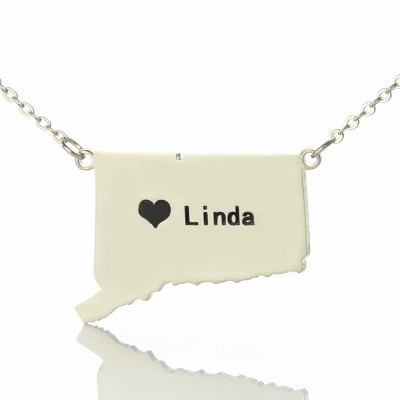 Connecticut State Shaped Necklaces With Heart  Name Silver - Name My Jewellery