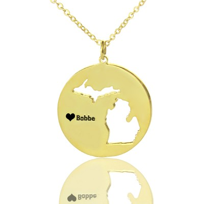 Custom Michigan Disc State Necklaces With Heart  Name Gold Plated - Name My Jewellery