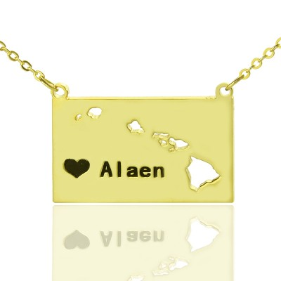 Custom Hawaii State Shaped Necklaces With Heart  Name Gold Plated - Name My Jewellery