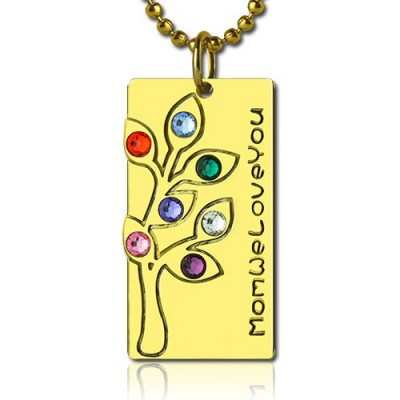 Mothers Birthstone Family Tree Necklace Sterling Silver  - Name My Jewellery