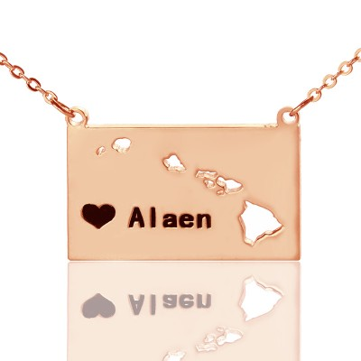Custom Hawaii State Shaped Necklaces With Heart  Name Rose Gold - Name My Jewellery