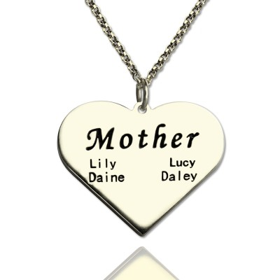 """""""Mother"""" Family Heart Necklace Sterling Silver - Name My Jewellery"""