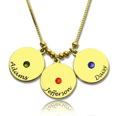 Mother's Disc and Birthstone Charm Necklace 18ct Gold Plated  - Name My Jewellery