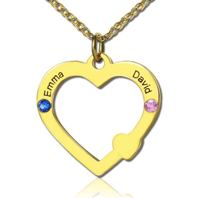 18ct Gold Open Heart Necklace with Double Name  Birthstone  - Name My Jewellery