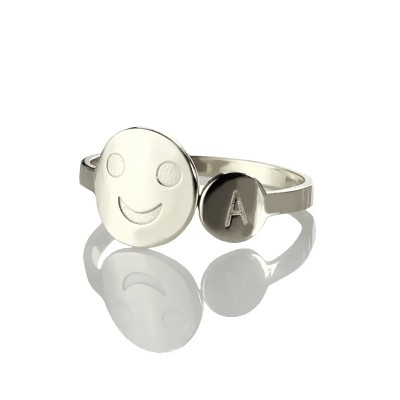 Personalised Smile Ring with Initial Sterling Silver - Name My Jewellery