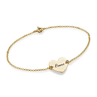 18ct Gold Plated Engraved Couples Heart Bracelet/Anklet - Name My Jewellery