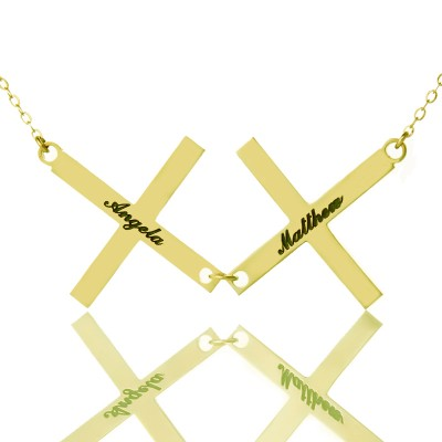 Gold Plated 925 Silver Greece Double Cross Name Necklace - Name My Jewellery