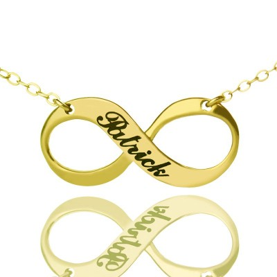 Infinity Symbol Jewellery Necklace Engraved Name 18ct Gold Plated - Name My Jewellery