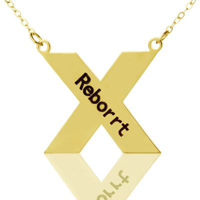 Personalised 18ct Gold Plated Silver St. Andrew Name Cross Necklace - Name My Jewellery