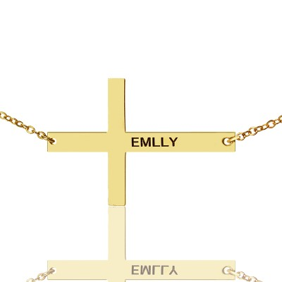 "Gold Plated Silver Latin Cross Necklace Engraved Name 1.6"" - Name My Jewellery"