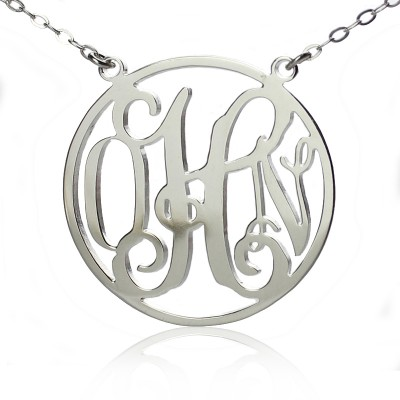Circle 18ct Solid White Gold Initial Monogram Name Necklace - Name My Jewellery