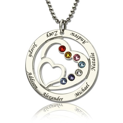 Personalised Heart in Heart Birthstone Name Necklace Silver  - Name My Jewellery