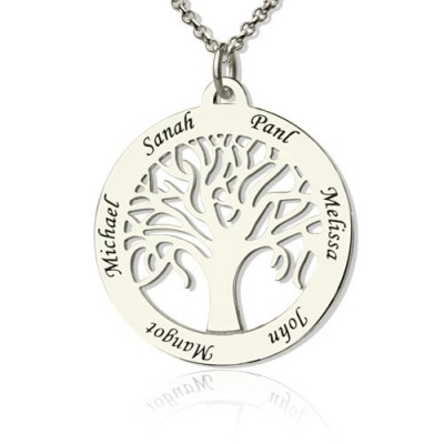 Tree Of Life Necklace Engraved Names in Silver - Name My Jewellery
