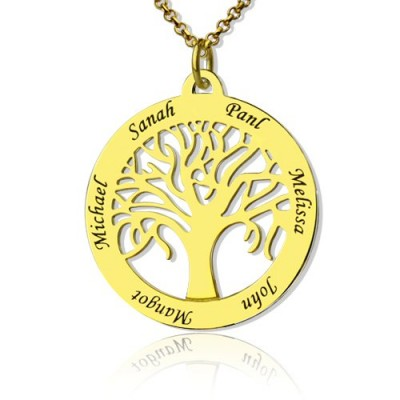 Tree of Life Jewellery Family Name Necklace in 18ct Gold Plated - Name My Jewellery