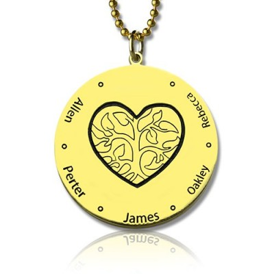 Heart Family Tree Necklace in 18ct Gold Plating - Name My Jewellery