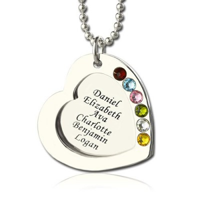 Heart Family Necklace With Birthstone Sterling Silver  - Name My Jewellery