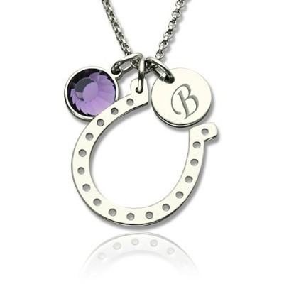 Horseshoe Good Luck Necklace with Initial  Birthstone Charm  - Name My Jewellery