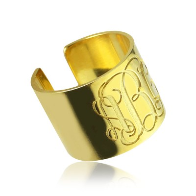 Script Monogram Cuff Ring Gifts 18ct Gold Plated - Name My Jewellery