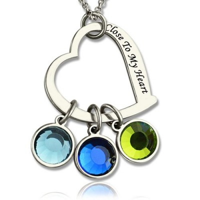 Open Heart Promise Phrase Necklace with Birthstone  - Name My Jewellery
