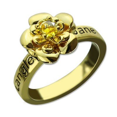 Promise Rose Ring for Her with Birthstone 18ct Gold Plated  - Name My Jewellery