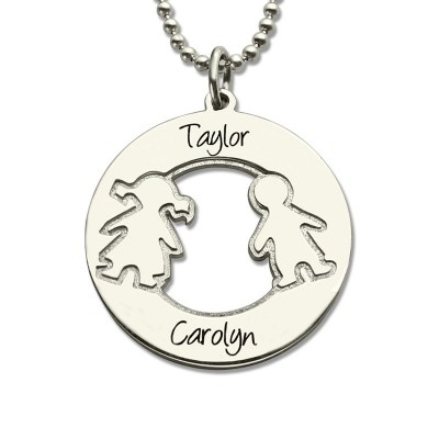 Circle Necklace With Engraved Children Name Charms Sterling Silver - Name My Jewellery