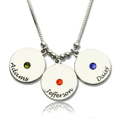 Mother's Disc and Birthstone Charm Necklace  - Name My Jewellery