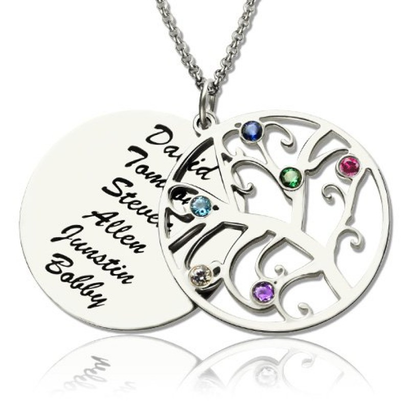e084b8190589 Family Tree Pendant Necklace With Birthstone Silver - Name My Jewellery