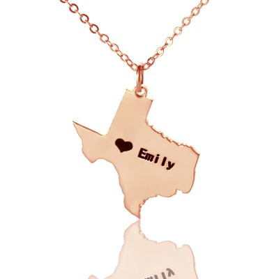Texas State USA Map Necklace With Heart  Name Rose Gold - Name My Jewellery