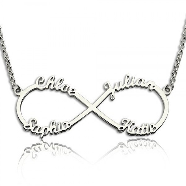 Sterling Silver Infinity Symbol Necklace 4 Names Name My Jewellery