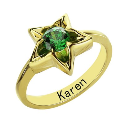 Personalised Star Ring with Birthstone Gold Plated Silver  - Name My Jewellery